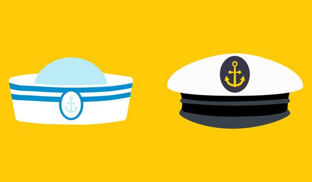 Sailor hat set, marine captain clothing.Concept for websites, web banner. Flat design vector illustration. EPS10
