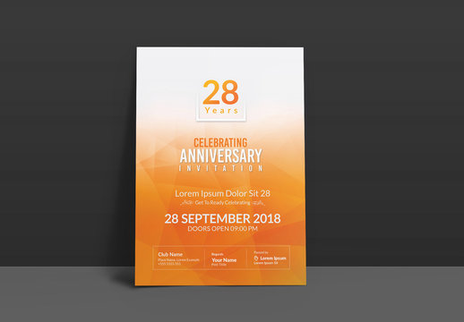 Invitation Flyer Layout with Orange Accents