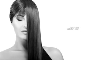 Beautiful woman with healthy long hair. Straightening Treatment