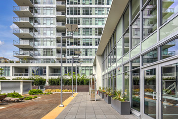 Contemporary apartment building exterior in Seattle.