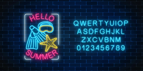 Glowing neon sign of summer begin party with sea star, flippers, mask symbols with alphabet. Summer begin party leaflet.