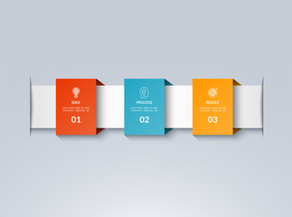 Infographic timeline template. Vector banner with 3 options, steps, parts. Can be used for for web, workflow layout, diagram, chart, graph