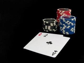 poker game on black background