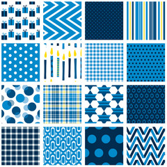 Set of sixteen seamless Hanukkah background patterns. File includes gift, candle, star, dreidel, polka dot, gingham, plaid, chevron, stripe and abstract prints.
