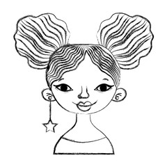 grunge woman with hairstyle and star long earing