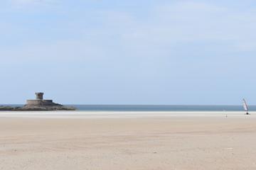Beach at low tide, Jersey, Channel Islands, UK, Europe, July 2018