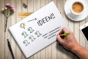 Hand skizziert Ideen-Prozess auf Papier