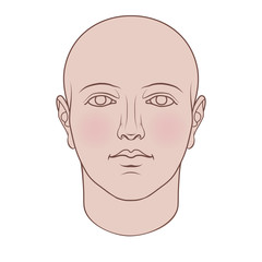 Hand drawn human head in face. Flat vector isolated on white background.