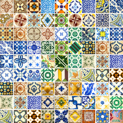 Collection of different patterns tiles