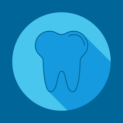 tooth flat long shadow icon. Element of medicine icon for mobile concept and web apps. Long shadow tooth icon can used for web and mobile