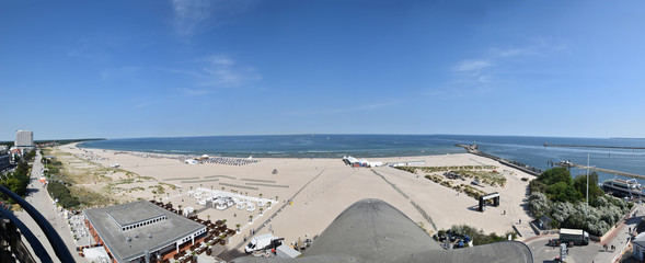 Panoramic view of beach and Baltic Sea in coastal town of Warnemunde, Germany.