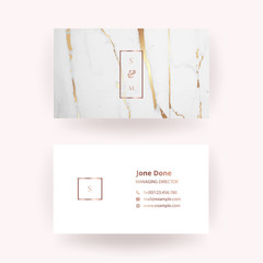 Luxury business card with marble texture and geometric line and golden background vector template.