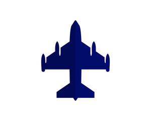 blue plane silhouette vehicle transport transportation conveyance logo image vector icon