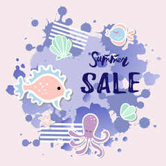 Vector illustration with octopus, fishes, watercolor splash. Summer sale banner. Template for party invitation, flayer, greeting card. Postcard motive.