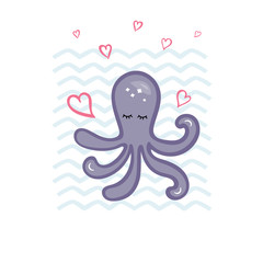 Vector illustration with cute octopus and hearts.