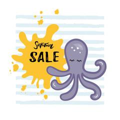 Vector illustration with Octopus, yellow paint splash.