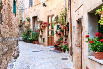 Valldemossa - old mountain village in Mallorca, Spain. Old medieval village in Spain.