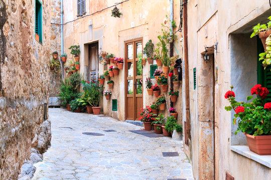Valldemossa - old mountain village in Mallorca, Spain. Old medieval village in Spain.