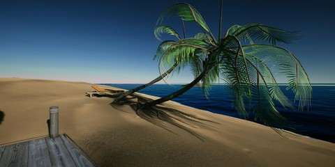 Extremely detailed and realistic high resolution 3D illustration of a Tropcial Island