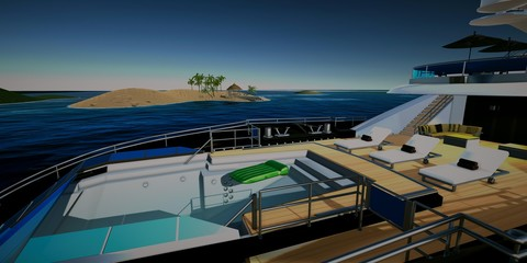 Extremely detailed and realistic high resolution 3D illustration of luxury Super Yacht approachting Tropcial Islands with Palms