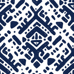 Ikat ornament. Tribal pattern in Aztec style. Hand Drawn folklore seamless pattern