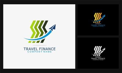 line icon travel finance logo