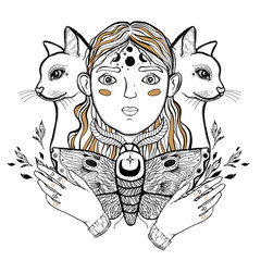 Beautiful young teenage girl, and cat. Vintage sketch style of drawing. Sketch for tattoo, isolated print on t-shirt. Magical, mystical, ethnic style.
