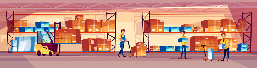 Warehouse workers vector illustration of logistics storage room with goods on shelf and men loading box parcels in forklift loader or pallet truck on cartoon background.
