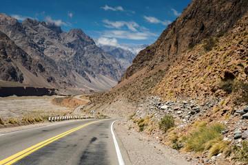 Mountain scenery landscape with empty street