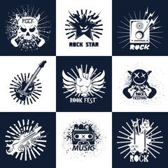 Rock band or music concert fest vector icons