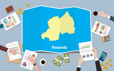 rwanda africa economy country growth nation team discuss with fold maps view from top
