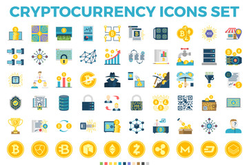 Cryptocurrency and Blockchain Related Flat Icons. Crypto Icon Set Featuring Bitcoin, Wallet, Mining, Distributed Ledger Technology, P2P, Altcoins, Encryption, Smart Contracts, Decentralized Vectors