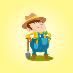 funny adorable farmer peasant agriculturist tiller gardener cartoon character