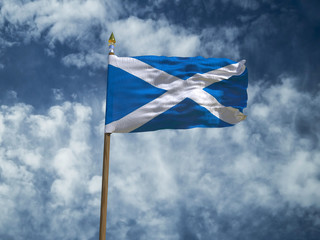 Scotland flag Silk waving flag of Scotland made transparent fabric with wooden flagpole gold spear on background sunny blue sky white smoke clouds real retro photo Countries of world 3d illustration