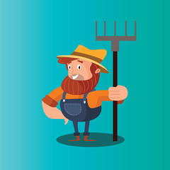 funny adorable farmer peasant agriculturist tiller gardener cartoon character