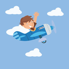 cute little pilot plane boys cartoon character