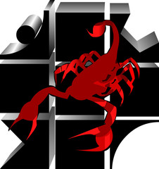 Scorpio red 3d logo vector illustration isolated on white background