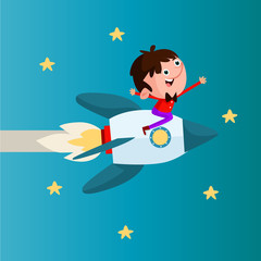 cute little ride a rocket jet boys cartoon character