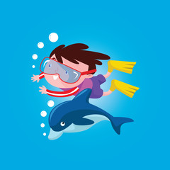 cute little  boys swimming with dolphin in the ocean cartoon character
