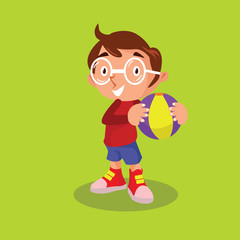 cute little glasses boys playing ball cartoon character