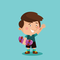 adorable cute little skateboarder boys kids cartoon character