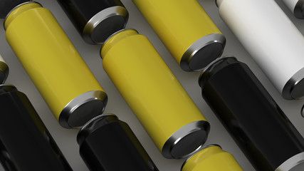 Raws of black, white and yellow soda cans