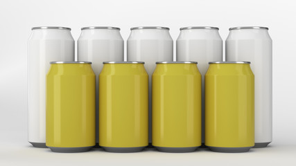 White and yellow soda cans standing in two raws on white background