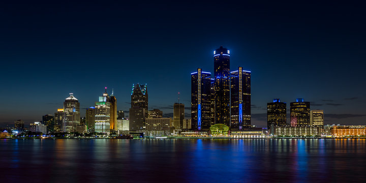 Detroit, Michigan skyline at night shot from Windsor, Ontario