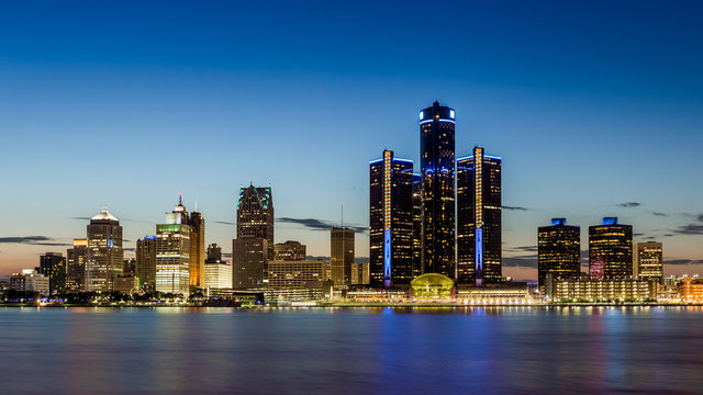 Detroit, Michigan skyline at dusk shot from Windsor, Ontario