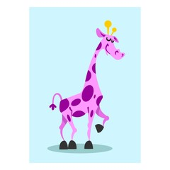 adorable friendly purple tall giraffe cartoon character