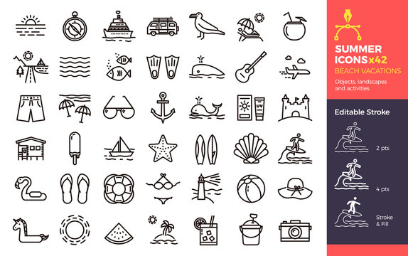 Summer icons, Beach Vacations. Objects landscapes and activities. Vector thin line illustration with Editable Stroke, easily editable. Seasonal, holiday, vacation, traveling.