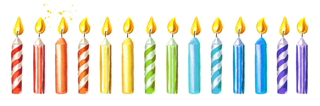 Birthday candle set. Watercolor hand drawn illustration, isolated on white background
