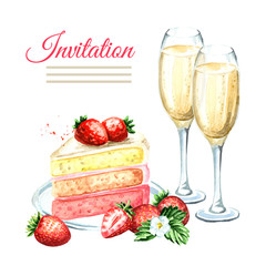 Invitation birthday or wedding card. Strawberry cake with champagne glasses. Watercolor hand drawn illustration, isolated on white background