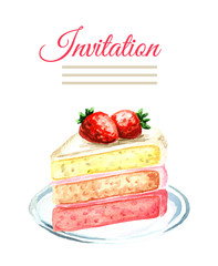 Invitation birthday or wedding card. Strawberry cake. Watercolor hand drawn illustration  isolated on white background